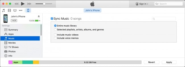 transfer Music from iPad to iPhone using iTunes - step 4: choose the content you want to synchronize