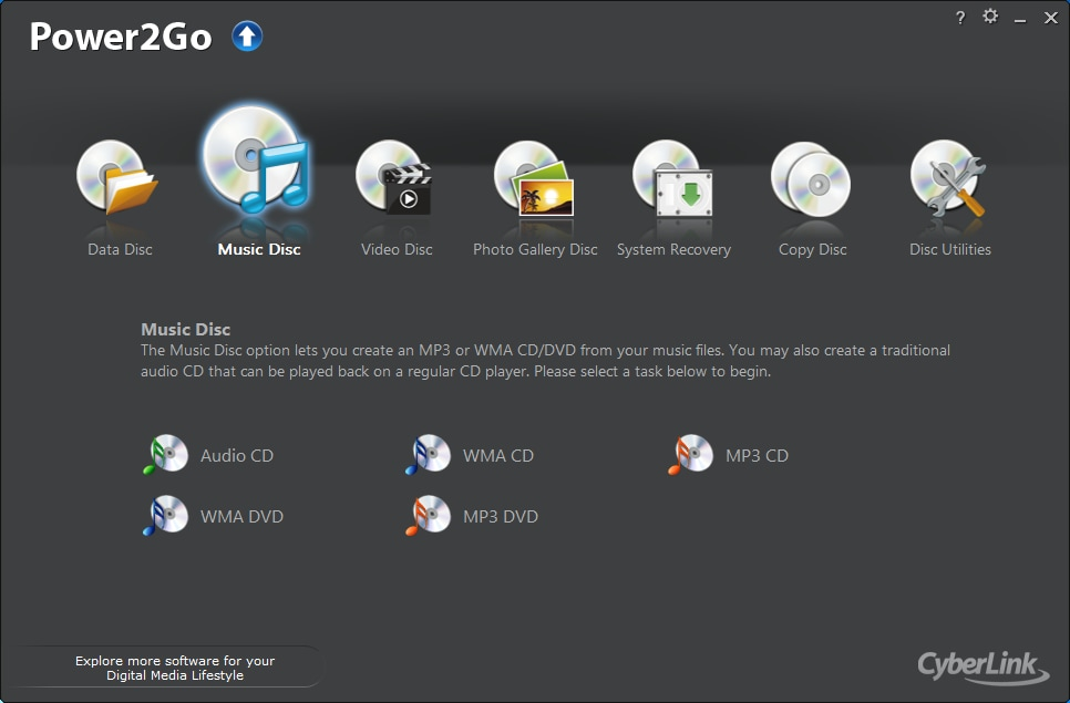 Power2Go 10 Platinum Data Burning Software
