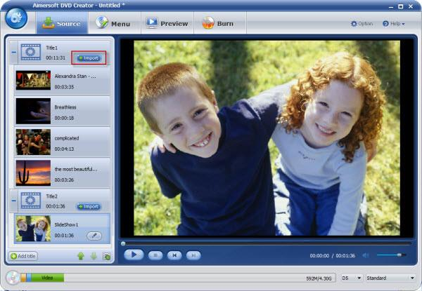 Import mp4 in DVD Flicki with Aimersoft DVD Creator