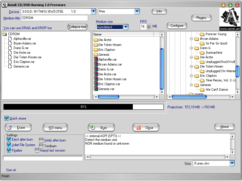 AmoK CD/DVD Burning DVD writer software
