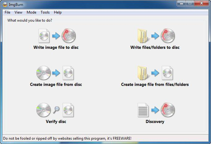 ImgBurn DVD writer software
