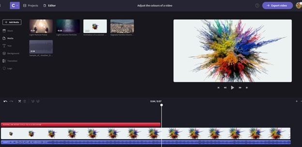 interface of free music video maker