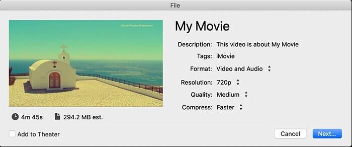 exporting imovie file to mp4