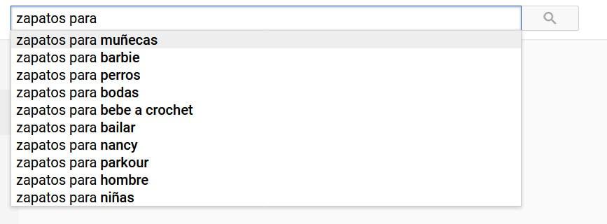Palabras sugeridas para finalizar la búsqueda en YouTube