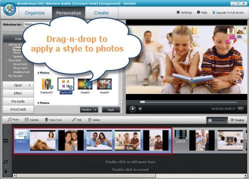 Wondershare DVD Slideshow Builder Standard Screenshot