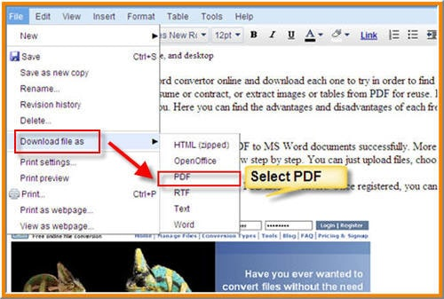 Save a word file (.doc and .docx) as a PDF for free