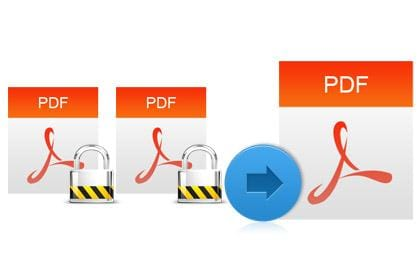Merge encrypted PDF files into one