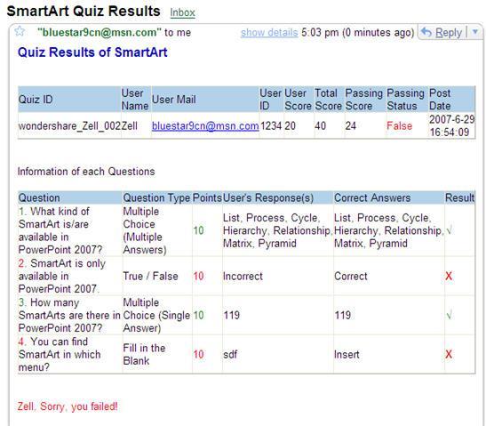 QuizCreator- send quiz reports via email