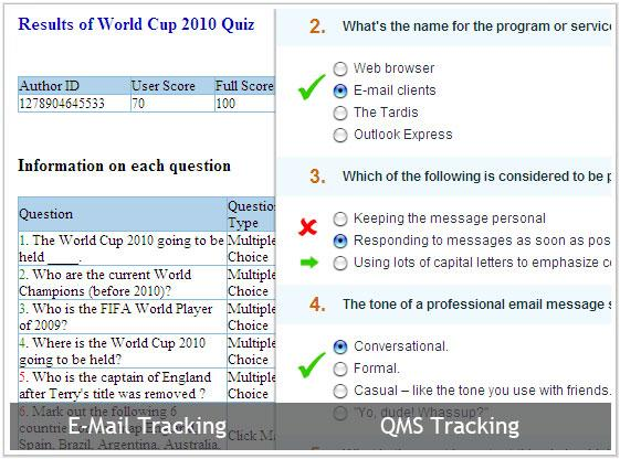 track quiz results with email or Quiz Management system