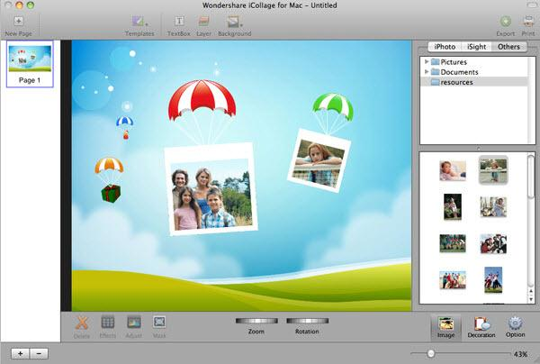 iCollage for Mac add photos