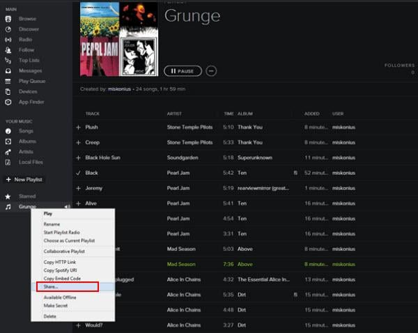 how to change which playlist is downloaded on spotify