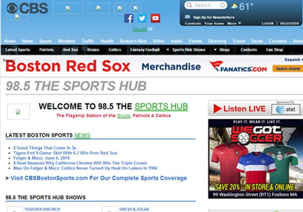 The sports hub-WBZ-fm 98.5, Boston, MA