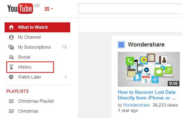 clear youtube history