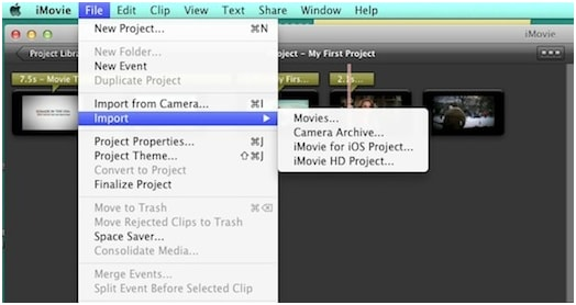 import to imovie theatre
