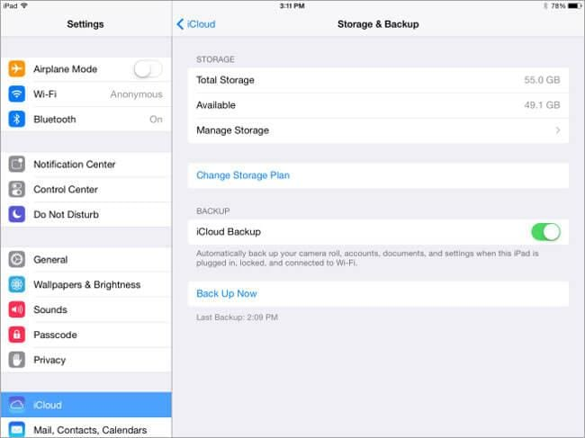 backup data to iCloud before upgrading to iOS 8