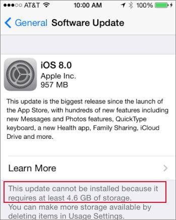 iOS 8 update storage issues