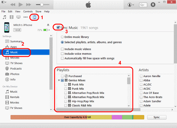 how to transfer playlists from itunes to iphone