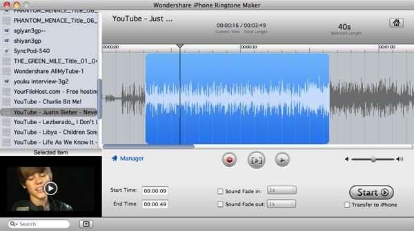 Wondershare iPhone Ringtone Maker for Mac Screenshot