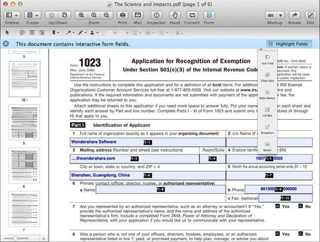 create PDF form in Mac