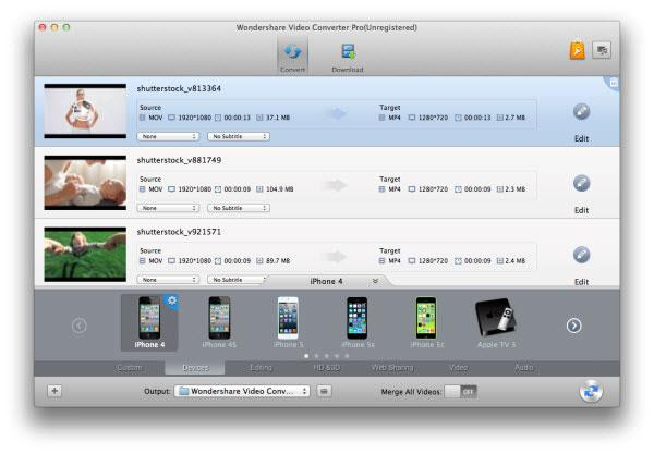 choose from optimized preset like Apple Devices