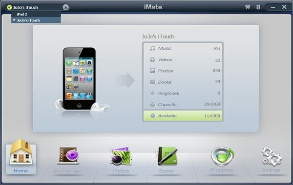 iMate main interface