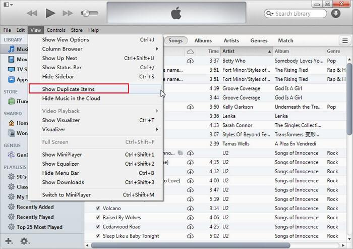 how to delete duplicates in itunes