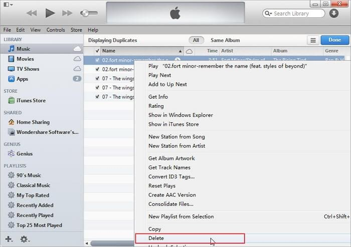 how to delete duplicate songs in itunes