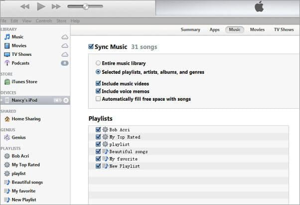 how to sync music from itunes to ipod