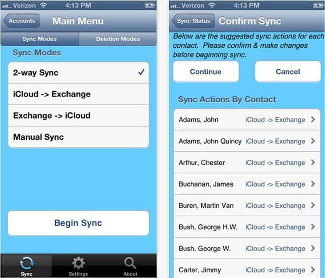 sync contacts iphone