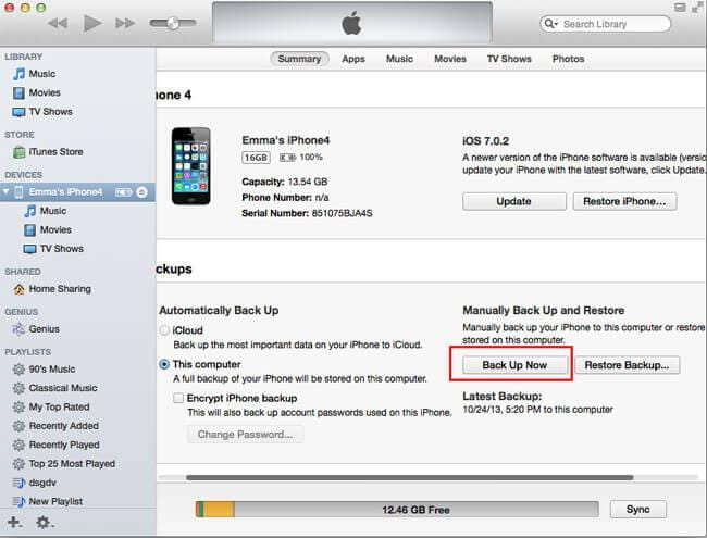 how to backup iphone data to itunes before iOS 7 jailbreak
