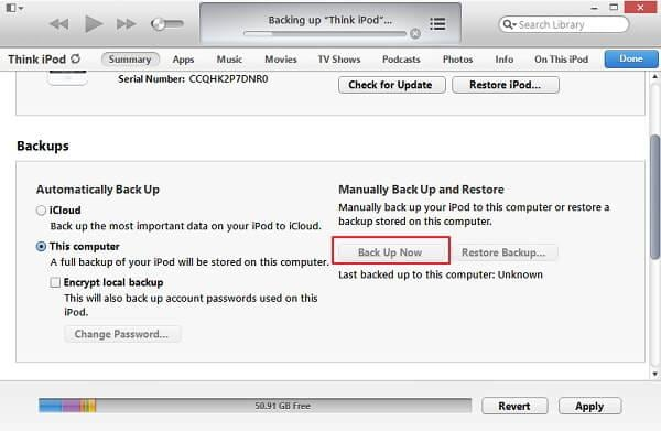 backup ipod touch with itunes