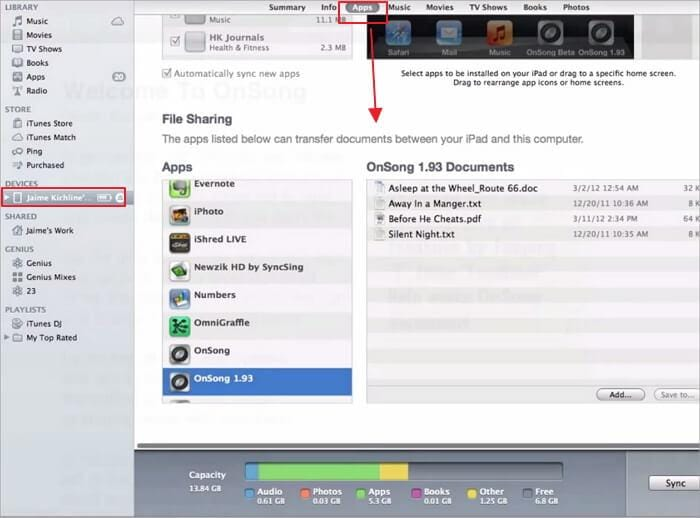 itunes file sharing