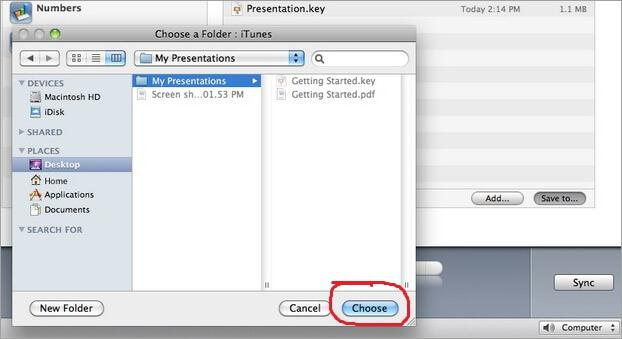 itunes file sharing folder