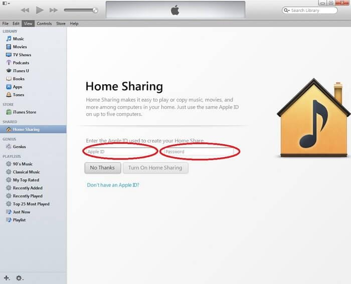 setup itunes home sharing