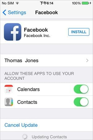 sync iphone with facebook