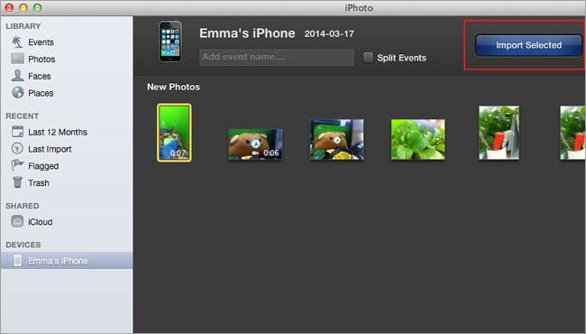 iPhoto to import video from iPhone to Mac