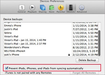 disable iPhone sync
