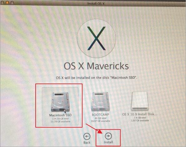 install mavericks after downgrading from yosemite