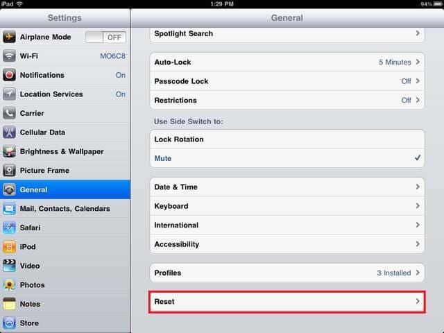 reset iPad to factory settings