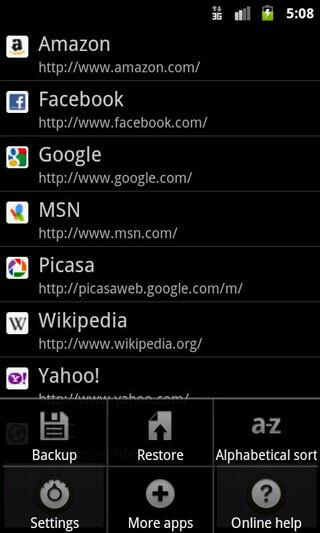 backup bookmarks android