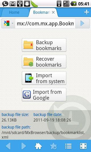 backup android bookmarks