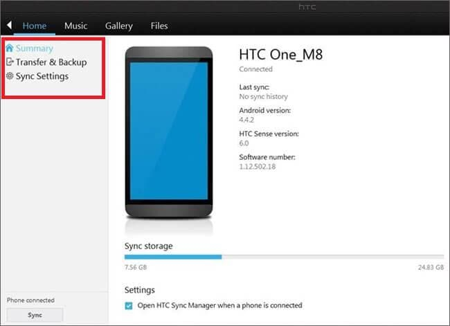 htc sync window