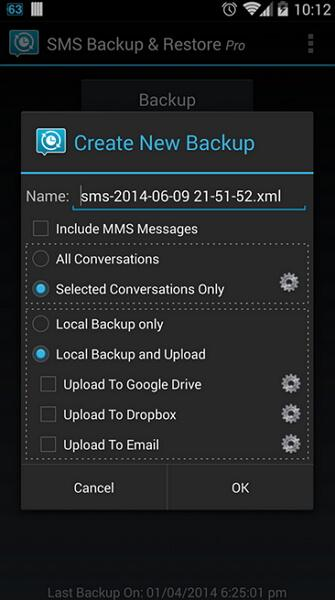 backup text messages android