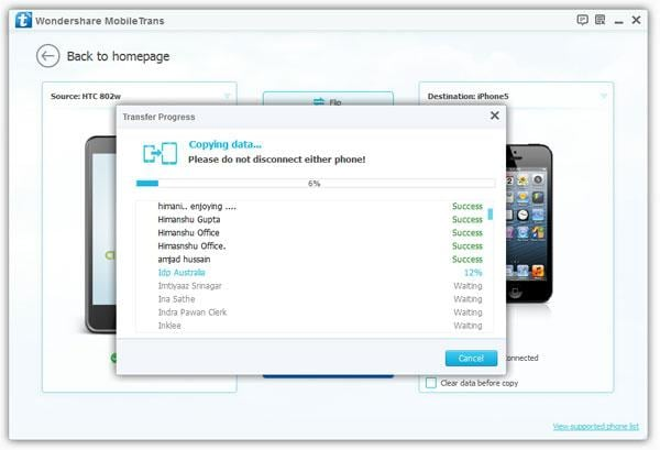transfer contacts from htc wildfire to iphone