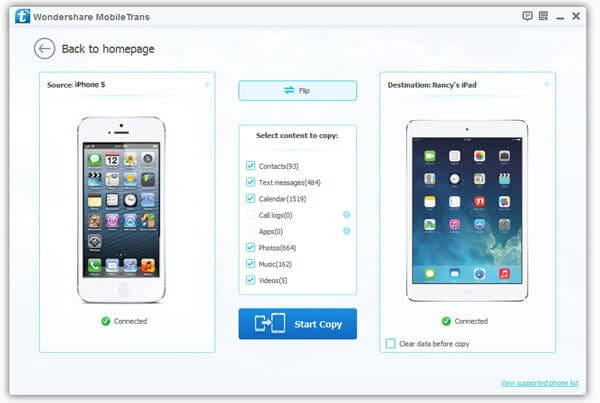 copy iphone to ipad