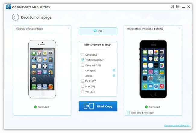 transfer SMS to iOS 7