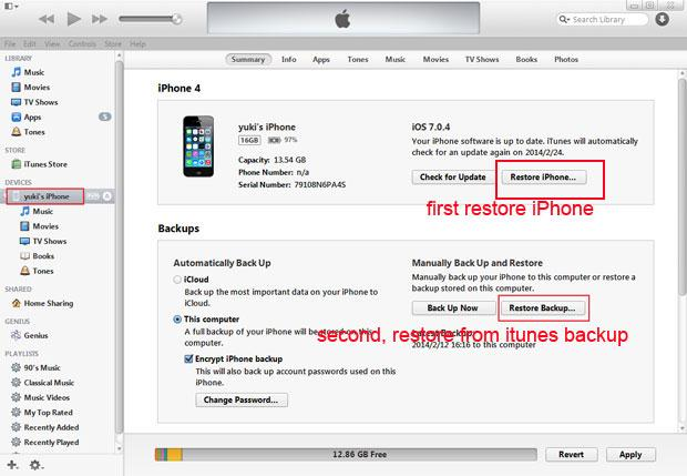 reset iphone itunes