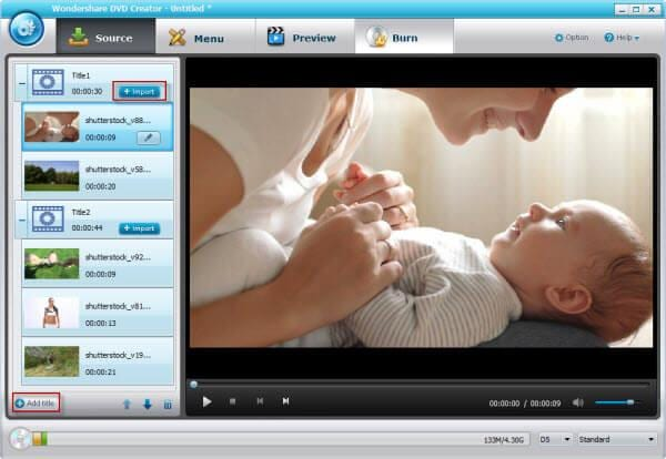dvd creator interface