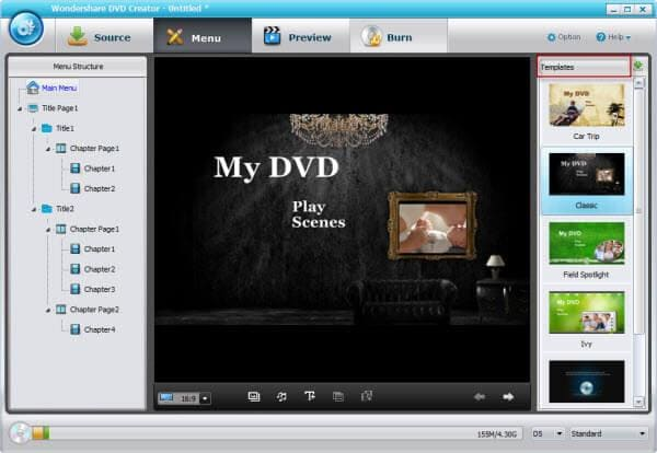 use wondershare dvd creator to import mp4 in DVD Flick