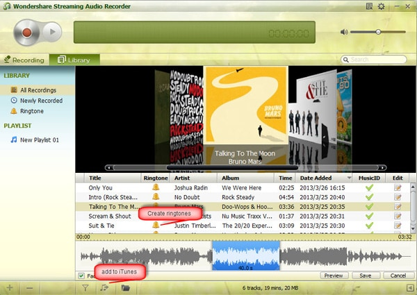 Wondershare Streaming Audio Recorder Screenshot